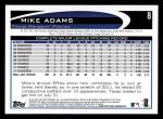 2012 Topps #8  Mike Adams  Back Thumbnail