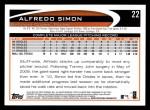 2012 Topps #22  Alfredo Simon  Back Thumbnail