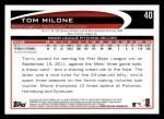 2012 Topps #40  Tom Milone  Back Thumbnail
