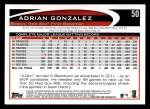 2012 Topps #50  Adrian Gonzalez  Back Thumbnail