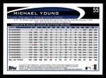 2012 Topps #55  Michael Young  Back Thumbnail