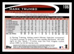 2012 Topps #106  Mark Trumbo  Back Thumbnail