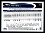 2012 Topps #161  Dee Gordon  Back Thumbnail