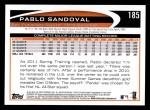 2012 Topps #185  Pablo Sandoval  Back Thumbnail