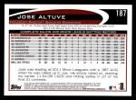 2012 Topps #187  Jose Altuve  Back Thumbnail