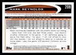 2012 Topps #208  Mark Reynolds  Back Thumbnail