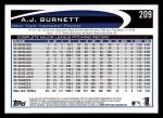2012 Topps #209  A.J. Burnett  Back Thumbnail