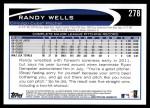 2012 Topps #278  Randy Wells  Back Thumbnail