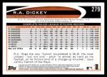 2012 Topps #279  R.A. Dickey  Back Thumbnail