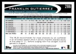 2012 Topps #286  Franklin Gutierrez  Back Thumbnail