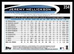 2012 Topps #354  Jeremy Hellickson  Back Thumbnail