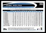 2012 Topps #366  Jose Molina  Back Thumbnail