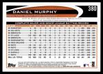 2012 Topps #380  Daniel Murphy  Back Thumbnail