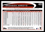 2012 Topps #403  Bronson Arroyo  Back Thumbnail