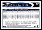 2012 Topps #404  Jonathan Sanchez  Back Thumbnail