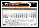 2012 Topps #523  Jim Johnson  Back Thumbnail
