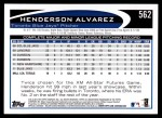2012 Topps #562  Henderson Alvarez  Back Thumbnail