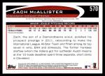 2012 Topps #570  Zach McAllister  Back Thumbnail