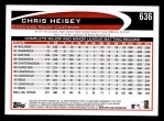 2012 Topps #636  Chris Heisey  Back Thumbnail