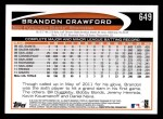 2012 Topps #649  Brandon Crawford  Back Thumbnail