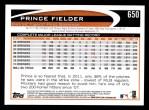 2012 Topps #650  Prince Fielder  Back Thumbnail