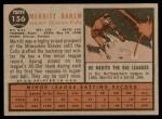 1962 Topps #156 NRM Merritt Ranew  Back Thumbnail