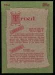 1985 Topps #142  Steve Trout / Dizzy Trout  Back Thumbnail