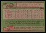 1985 Topps #243  Barbaro Garbey  Back Thumbnail