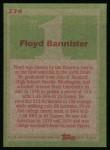 1985 Topps #274  Floyd Bannister  Back Thumbnail