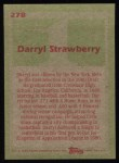 1985 Topps #278  Darryl Strawberry  Back Thumbnail