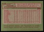 1985 Topps #618  Pete Falcone  Back Thumbnail