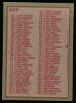 1985 Topps #659   Checklist Back Thumbnail