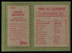 1985 Topps #701  Eddie Murray  Back Thumbnail
