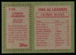 1985 Topps #708  Lance Parrish  Back Thumbnail