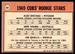 1969 Topps #602 VIS  -  Alec Distaso / Don Young / Jim Qualls Cubs Rookies Back Thumbnail