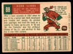 1959 Topps #88  Herb Score  Back Thumbnail