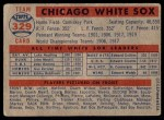 1957 Topps #329   White Sox Team Back Thumbnail