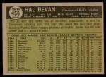 1961 Topps #456  Hal Bevan  Back Thumbnail