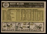 1961 Topps #304  Rocky Nelson  Back Thumbnail