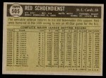 1961 Topps #505  Red Schoendienst  Back Thumbnail