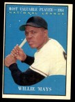 1961 Topps #482   -  Willie Mays Most Valuable Player Front Thumbnail