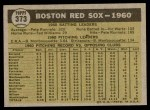 1961 Topps #373   Red Sox Team Back Thumbnail