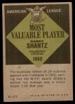 1961 Topps #473   -  Bobby Shantz Most Valuable Player Back Thumbnail
