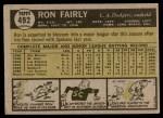 1961 Topps #492 COR Ron Fairly  Back Thumbnail