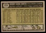 1961 Topps #316  Bobby Gene Smith  Back Thumbnail