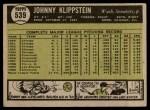1961 Topps #539  Johnny Klippstein  Back Thumbnail