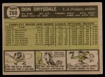 1961 Topps #260  Don Drysdale  Back Thumbnail