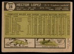 1961 Topps #28  Hector Lopez  Back Thumbnail