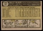 1961 Topps #187  Billy Klaus  Back Thumbnail