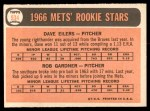 1966 Topps #534   -  Dave Eilers / Rob Gardner Mets Rookies Back Thumbnail